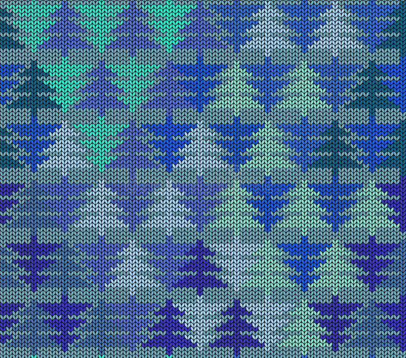 Seamless knitted pattern with trees vector illustration