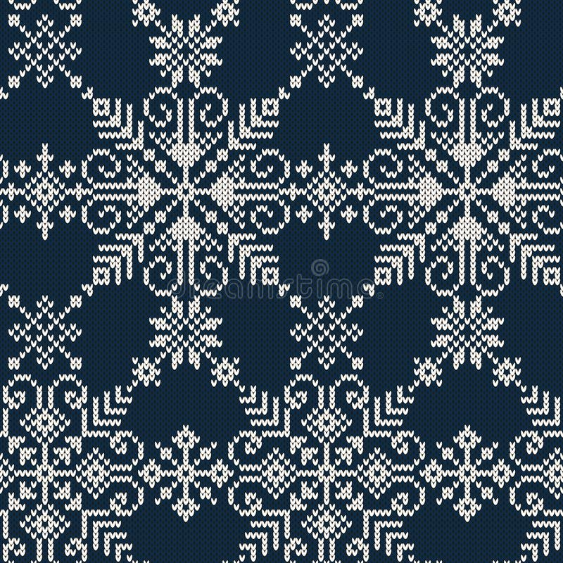 Seamless Knitted Pattern Of White Snowflakes On A Blue Backgroun