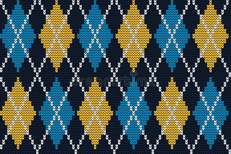 Seamless knitted pattern with yellow and blue rhombuses on a navy background royalty free illustration