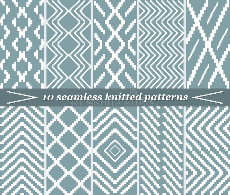 10 seamless knitted patterns in blue-grey color stock illustration