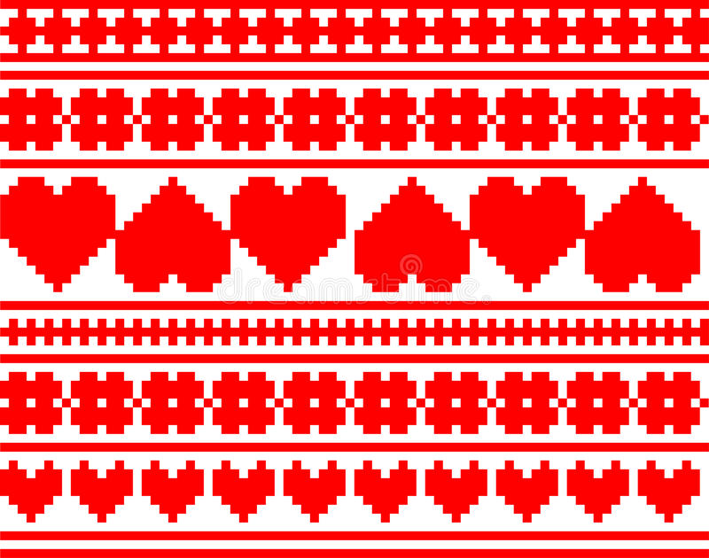 Seamless Knitted Valentine Pattern Stock Images
