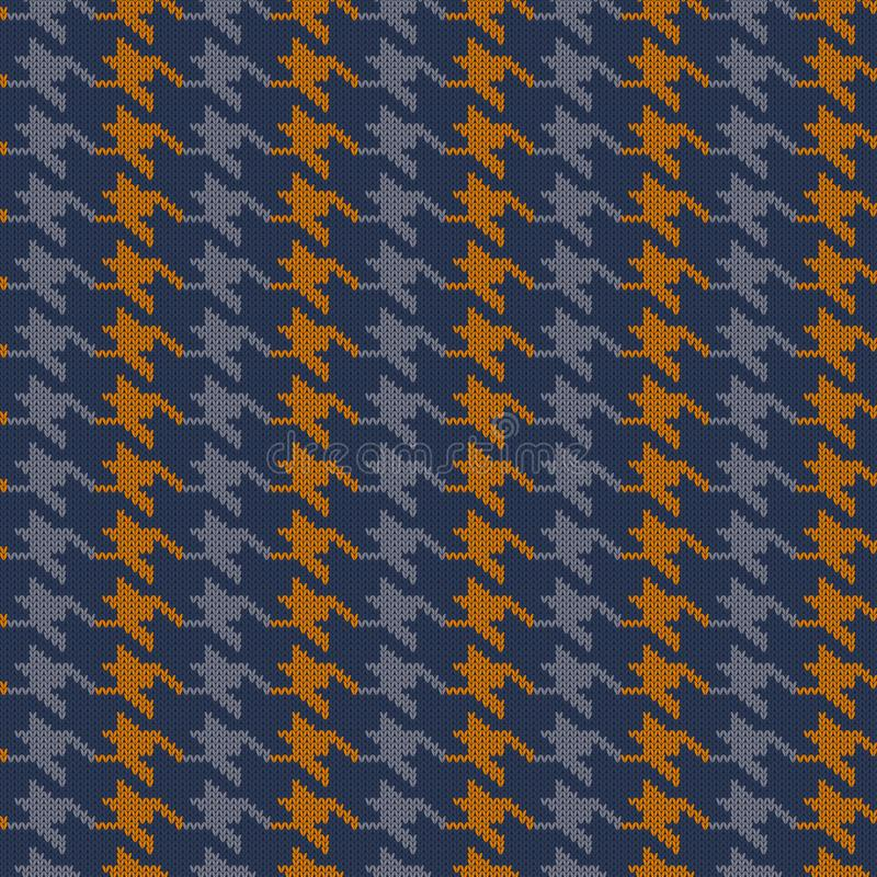 Seamless knitted woolen pattern Houndstooth. Vintage blue and orange hounds tooth check royalty free illustration