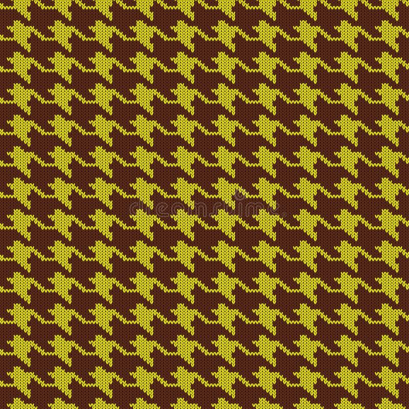 Seamless knitted woolen pattern Houndstooth. Yellow hounds tooth check vector illustration