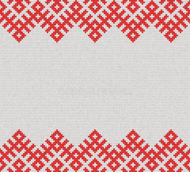 Seamless Knitting Pattern.Based on traditional Russian ornament.Banner template stock illustration