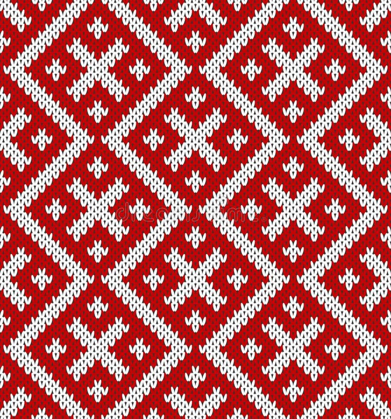 Seamless Knitting Pattern.Based on traditional Russian ornament. royalty free illustration