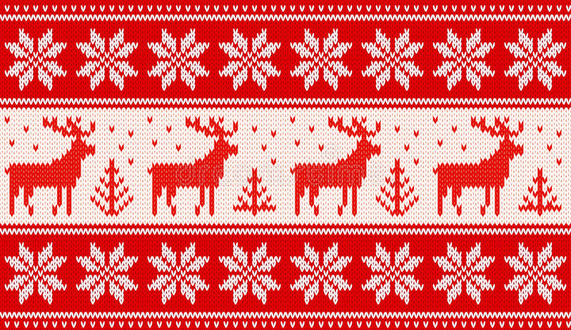 Seamless knitting pattern with deers and nordic stars. EPS8 vector illustration