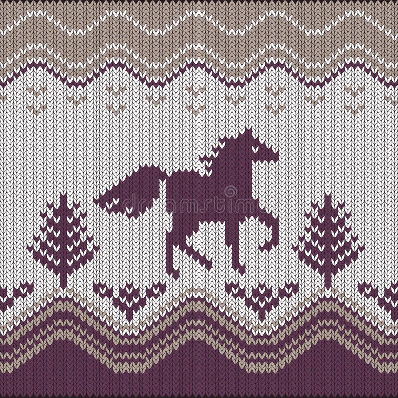 Seamless knitting pattern with horse. Trees and flowers stock illustration