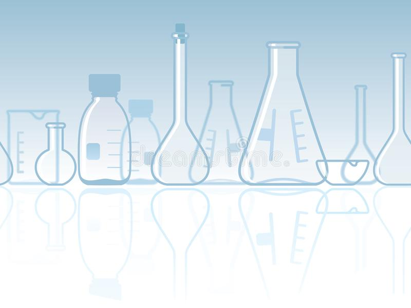 Seamless laboratory chemical banner vector illustration