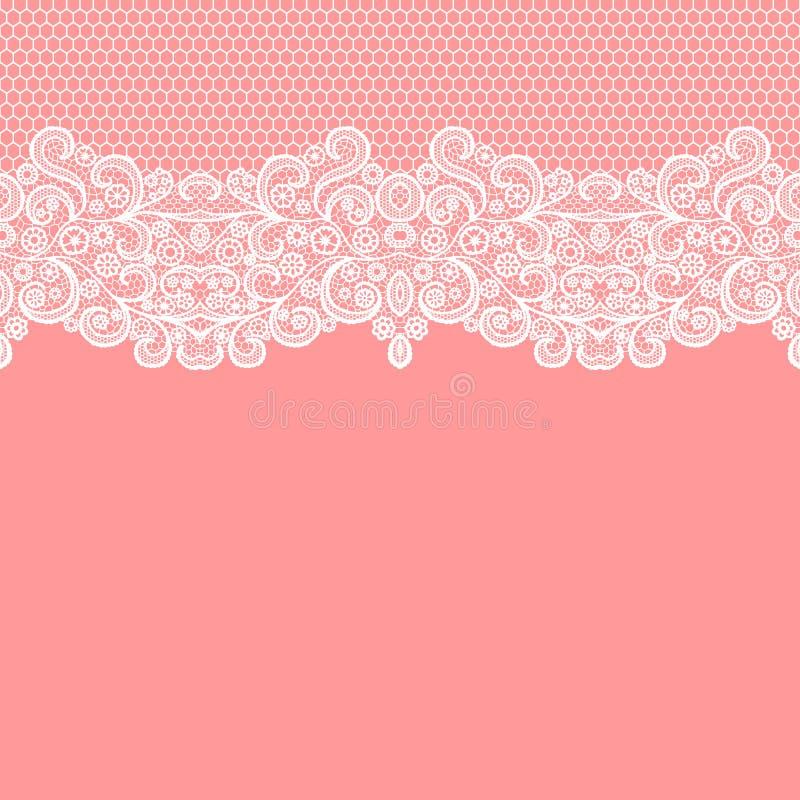 Seamless lace border. Vector illustration. White lacy vintage elegant trim. Invitation card royalty free illustration