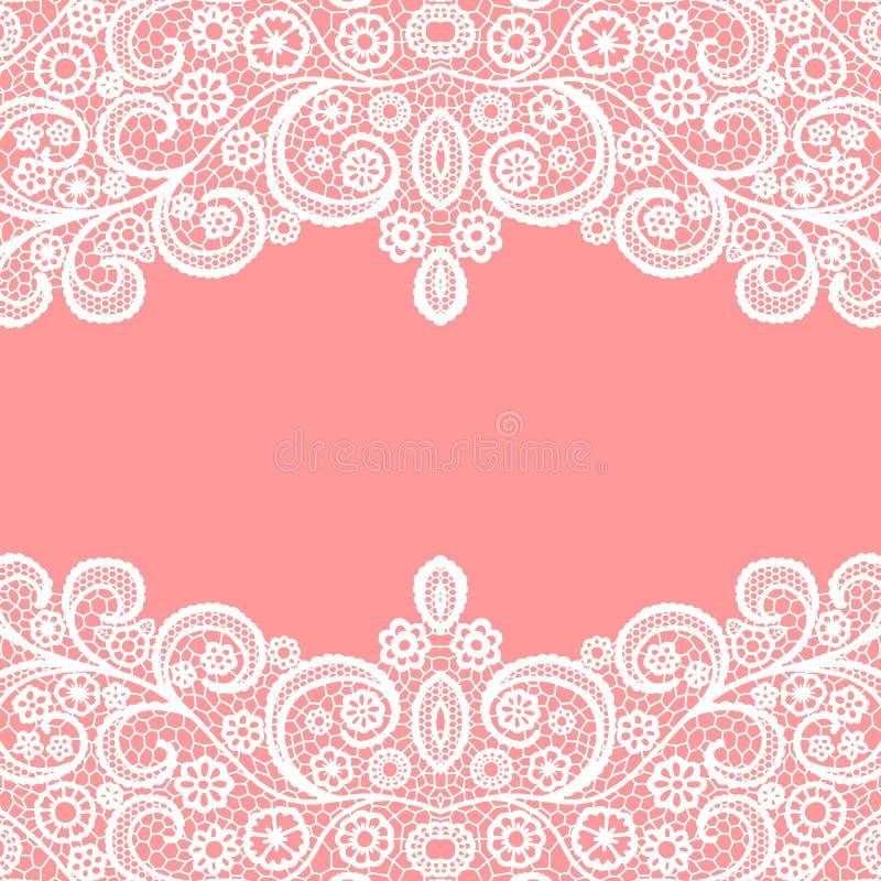 Seamless lace border. Vector illustration. White lacy vintage elegant trim. Invitation card vector illustration