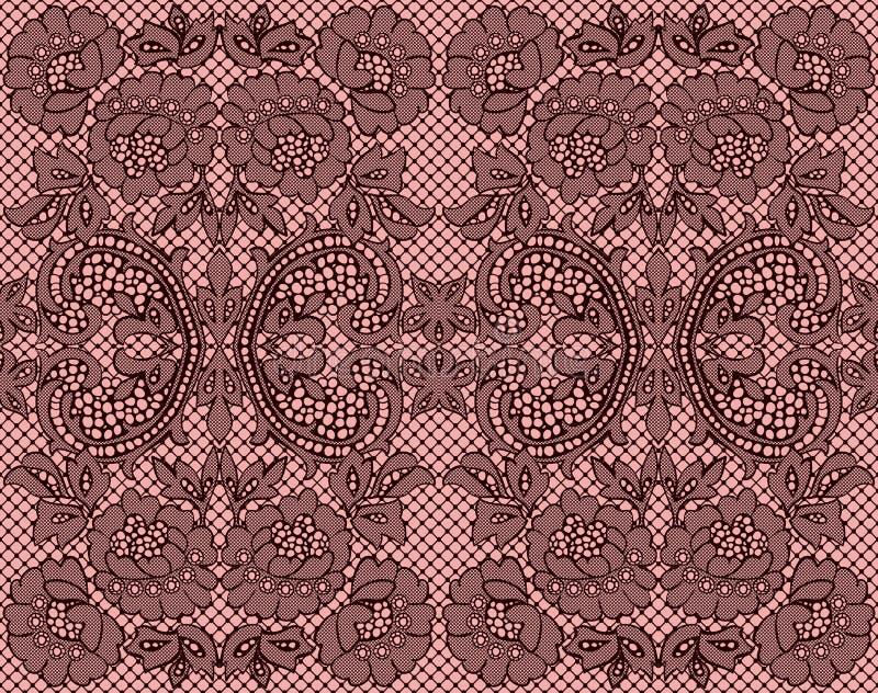 Seamless lace burgundy on pink background stock illustration
