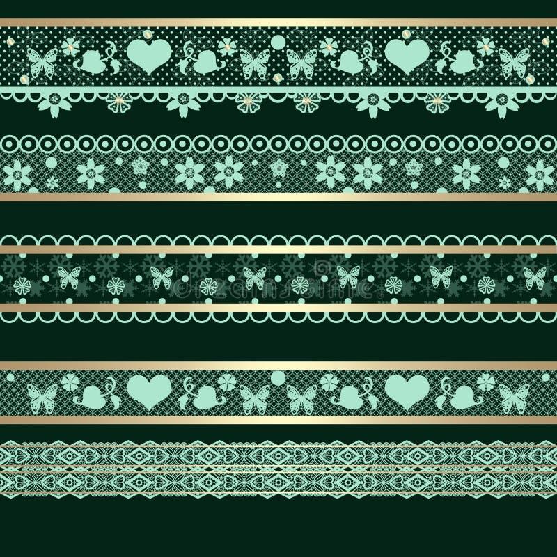 Seamless lace lacy ribbon pattern washi tapes background texture. Seamless lace lacy ribbon pattern washi tapes on black background texture vector illustration