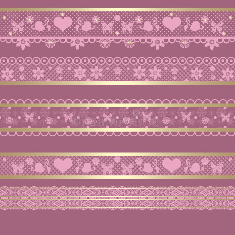 Seamless lace lacy ribbon pattern washi tapes on retro background texture. Seamless lace lacy ribbon pattern washi tapes on retro pink background texture stock illustration