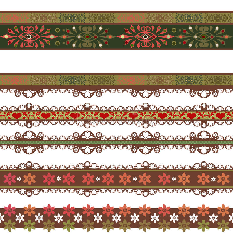 Seamless lace lacy washi tapes pattern on white background vector illustration