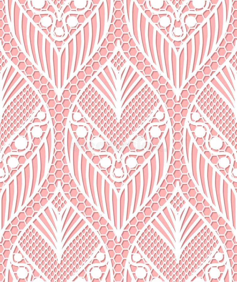 Seamless lace pattern made of abstarct ethnic ornamental leaves vector illustration