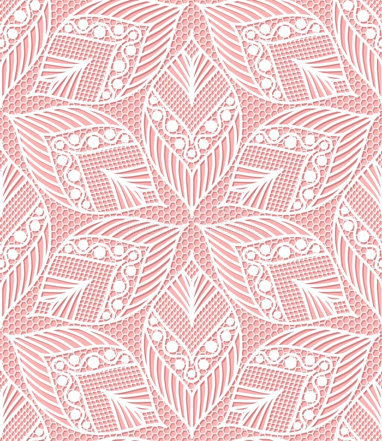 Seamless lace pattern made of abstarct ethnic ornamental leaves royalty free illustration