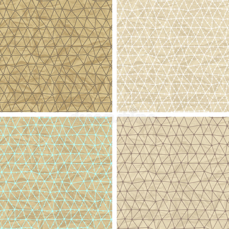 Seamless lace patterns on old paper texture.  royalty free illustration