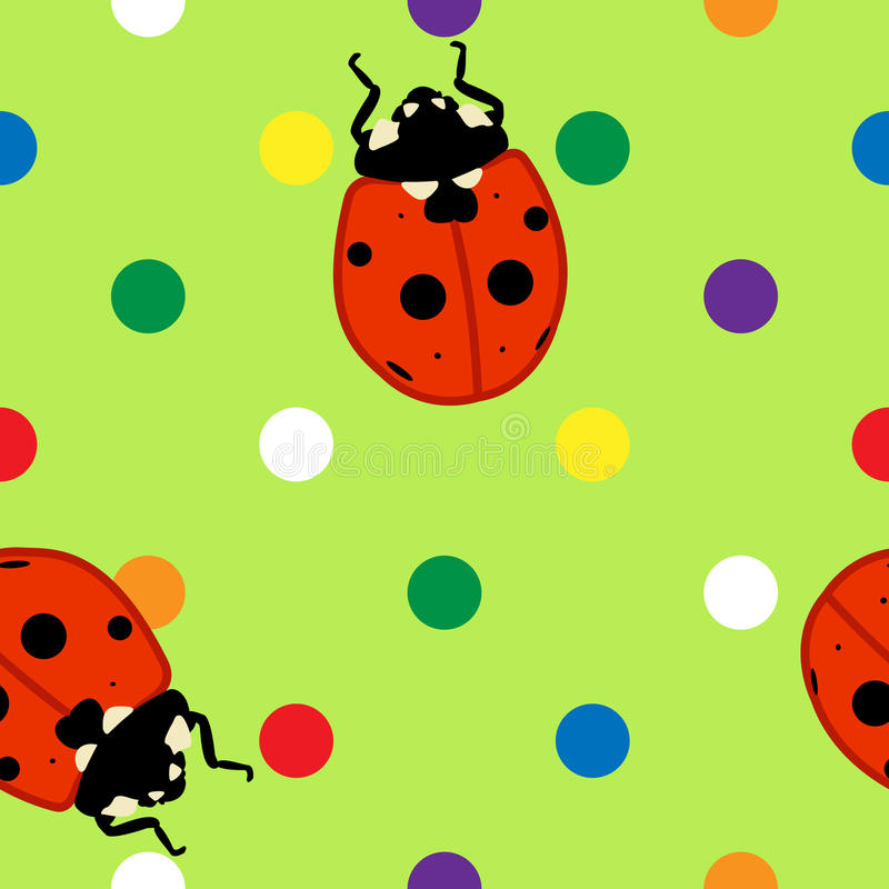 Download Seamless Ladybugs Over Green Background Royalty Free Stock Image - Image: 24984276