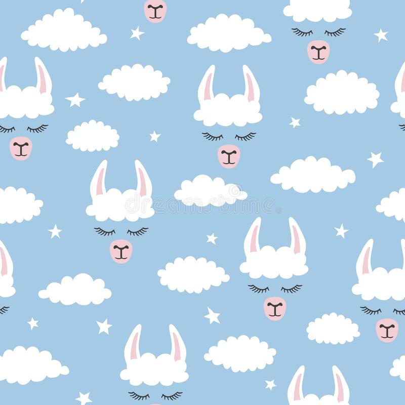 Free Seamless Lama Pattern. Vector Blue Background With Alpaca And Clouds Royalty Free Stock Photography - 167643177