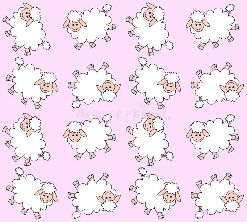 Seamless lamb pattern. With pink background color stock illustration