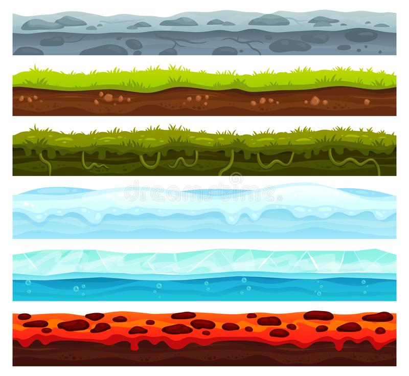 Seamless land layers. Dirt ground landscape game asset, ice with snow caps and lava floor. Cartoon surface vector assets stock illustration