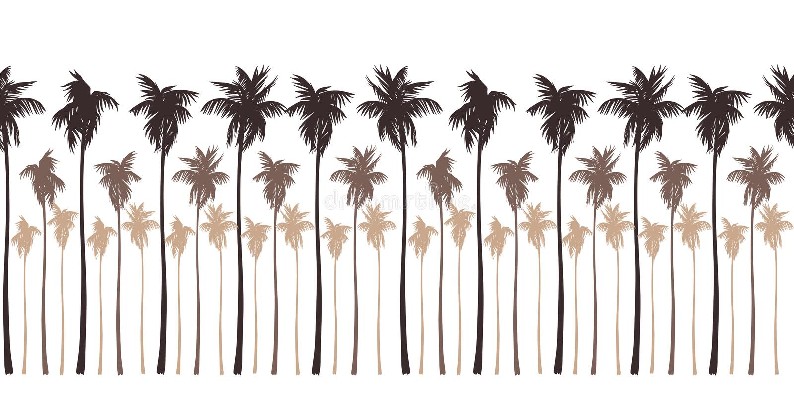 Seamless landscape pattern with brown silhouettes of palm trees. stock illustration