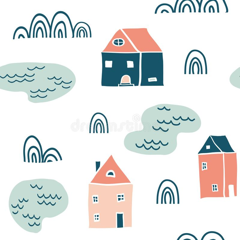 Seamless landscape pattern vector illustration