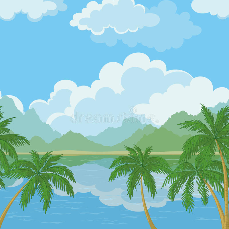 Seamless landscape, sea and palm trees vector illustration