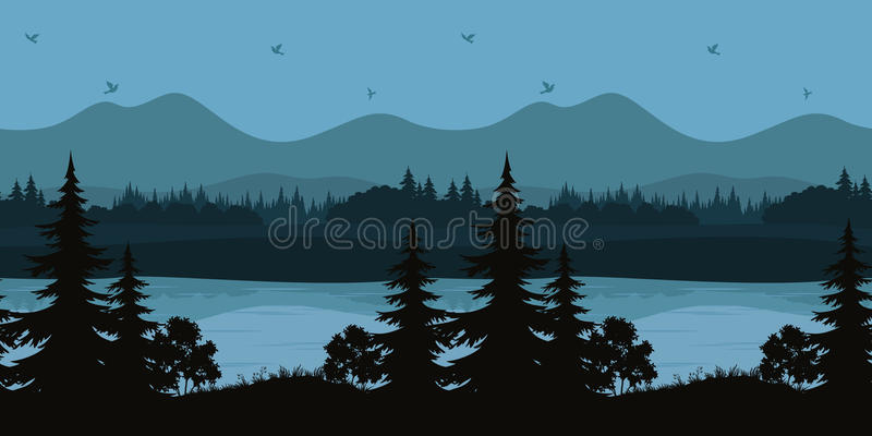 Seamless Landscape, Trees and Mountain Lake vector illustration