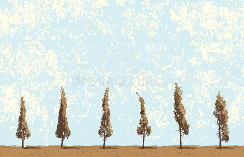 Seamless landscape with trees on sky backdrop vector illustration