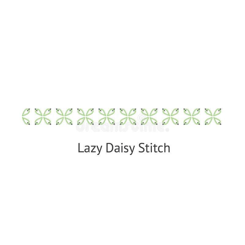 Seamless Lazy Daizy decorative stitch brush vector illustration isolated on white. Seamless Lazy Daizy decorative stitch brush vector illustration isolated on vector illustration