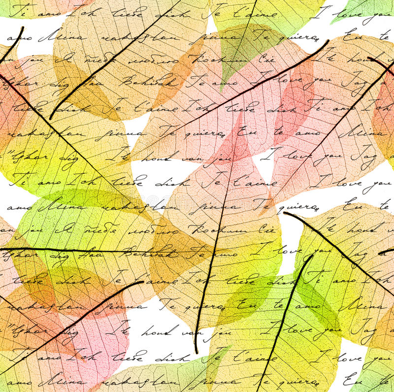 Autumn In Other Languages: Seamless Leaves Background Stock Photo. Image Of