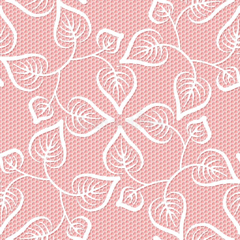Seamless leaves lace pattern stock illustration