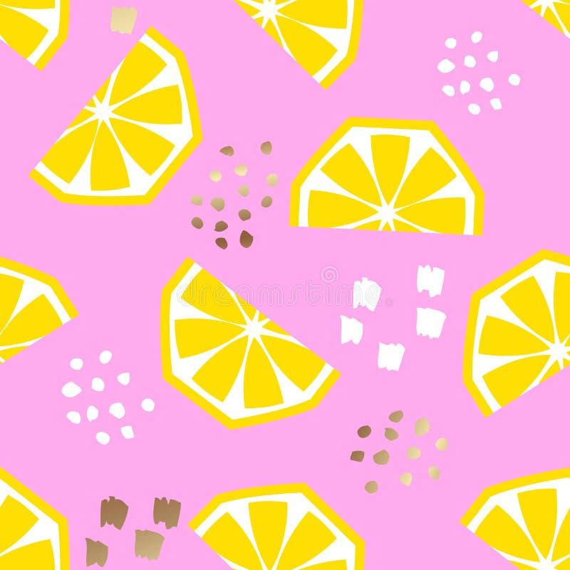 Seamless lemon geometric pattern, vector illustration. Design backgrounds for invitation, brochure and promotion template royalty free illustration