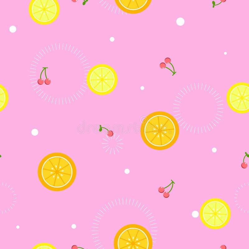 Seamless lemon,orange slice,cherry repeat pattern in pink background flat vector illustration royalty free illustration
