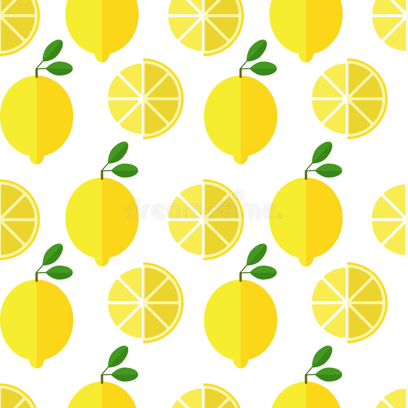 Seamless lemon pattern on white background. Seamless background with fresh yellow lemon and leaves vector illustration