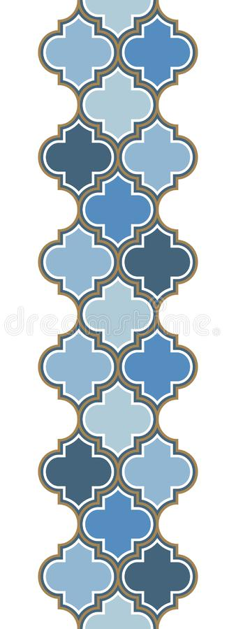 Vertical vector moroccan repeat seamless border. Light blue, gold beige line on white background. vector illustration