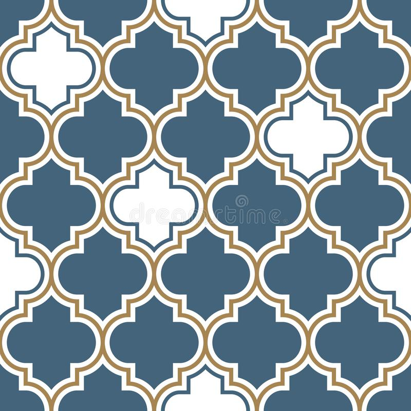 Vector moroccan repeat seamless pattern. Light blue, gold beige line on white background. stock illustration