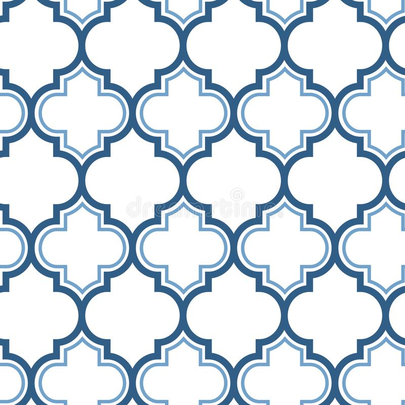 Vector moroccan repeat seamless pattern. Light blue on white background. vector illustration