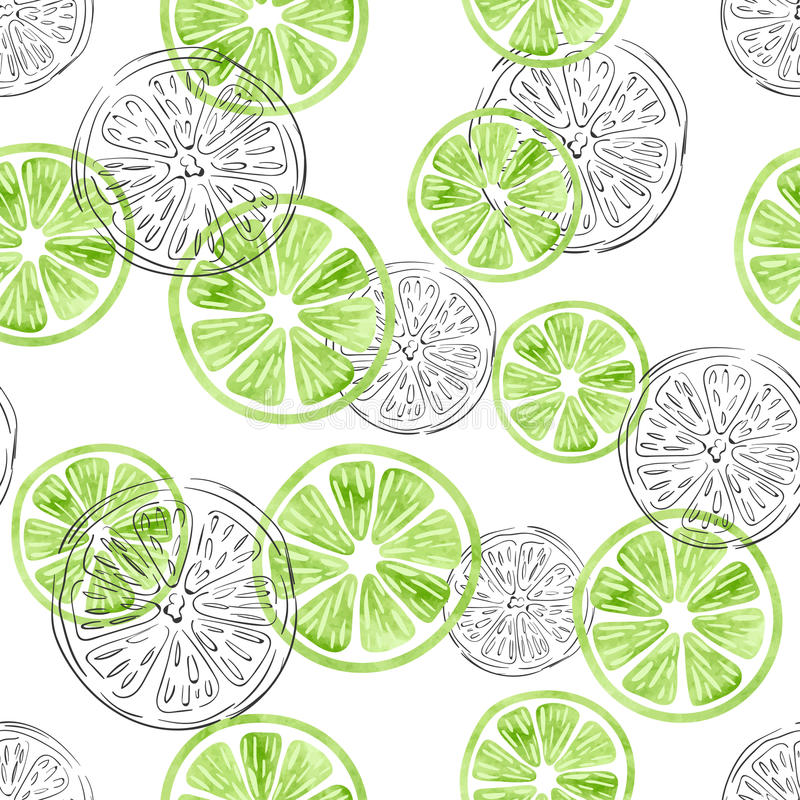 Seamless lime pattern. stock illustration