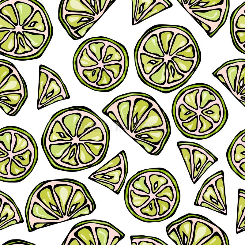 Seamless Lime Slices Background. Pattern of Citrus. Doodle Style Vector Illustration. stock illustration