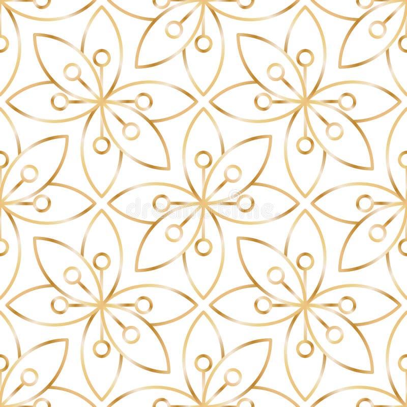 Seamless linear golden flower pattern vector illustration