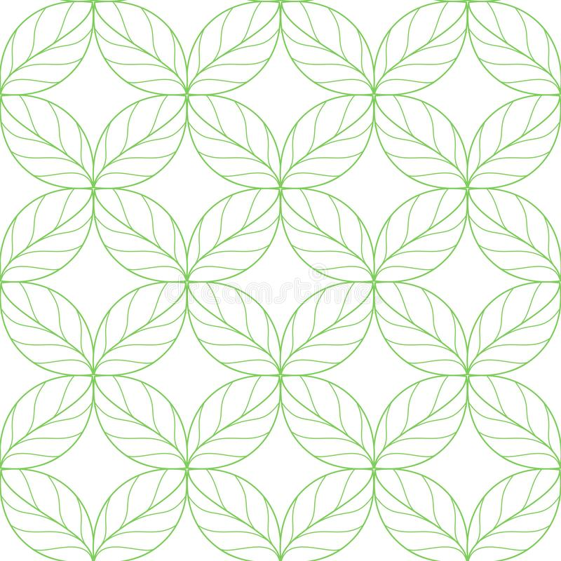 Seamless linear leaves pattern stock illustration