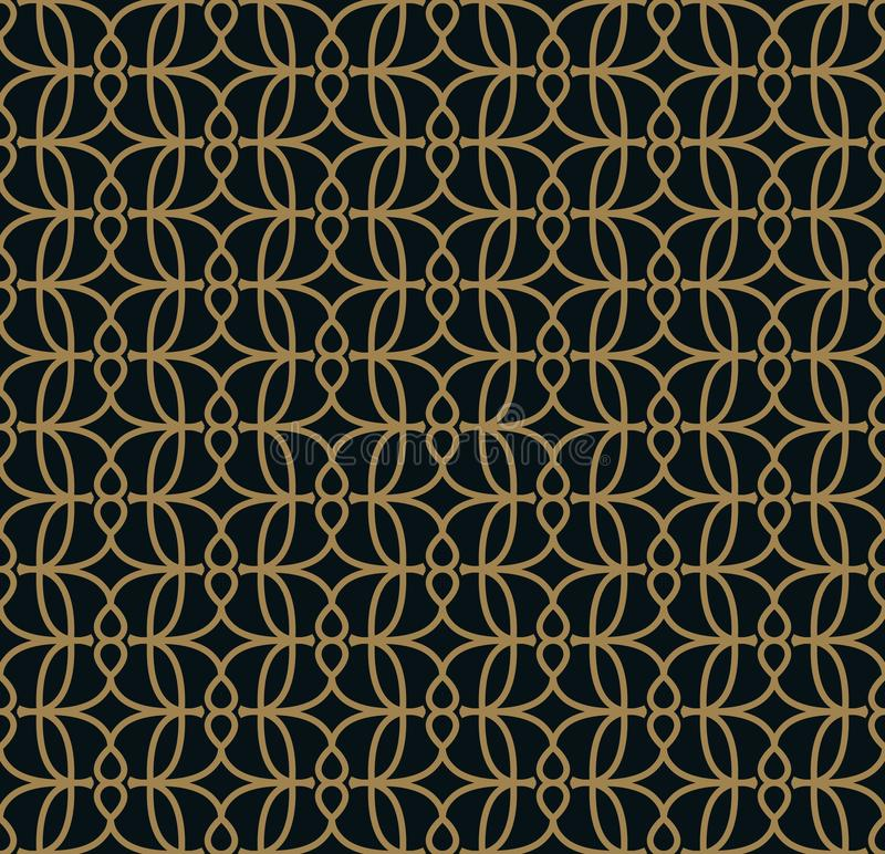 Seamless linear pattern with crossing curved lines with gold colo. Design stock illustration