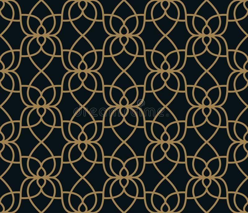 Seamless linear pattern with crossing curved lines with gold colo. Design vector illustration