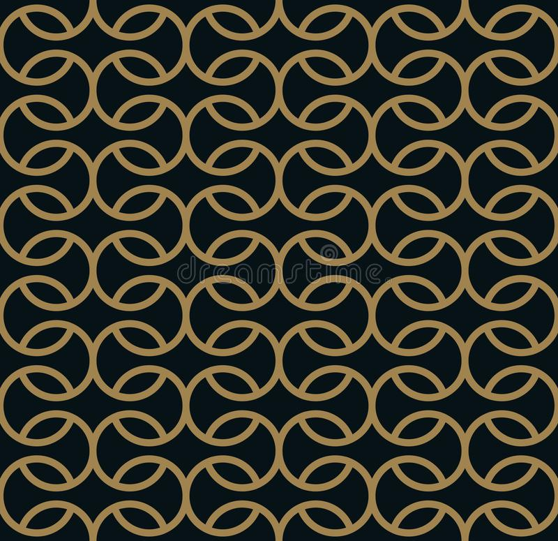 Seamless linear pattern with crossing curved lines with gold colo. Design royalty free illustration