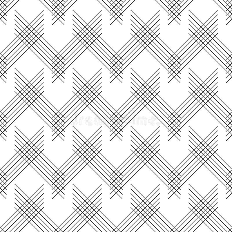Seamless linear pattern with thin poly lines and polygons. Abstract geometric texture with geometric shapes. Stylish background in stock illustration
