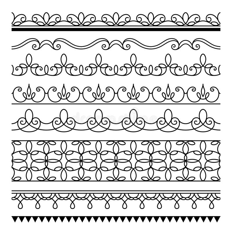 Download Seamless Lines Set Of Simple Border Ornaments Stock Vector