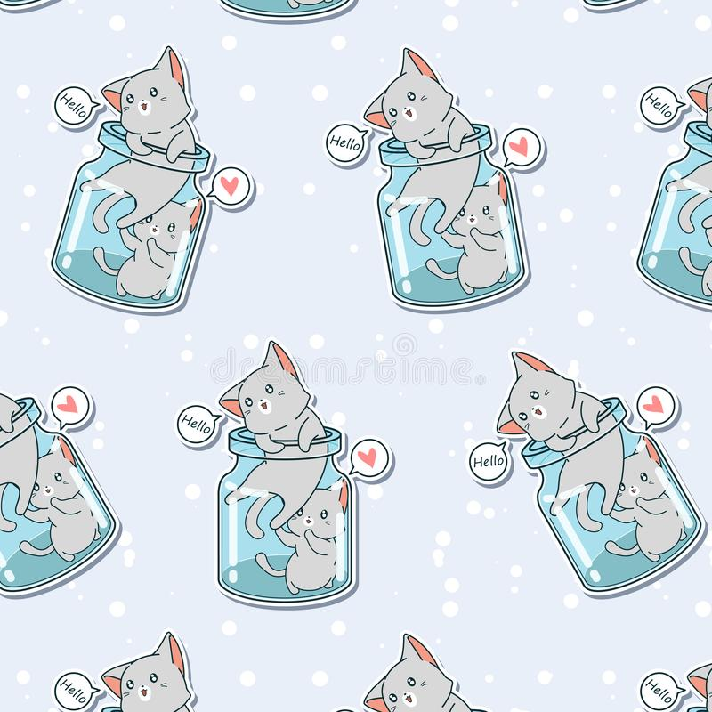 Seamless 2 little cats in the bottle pattern. In cartoon style vector illustration