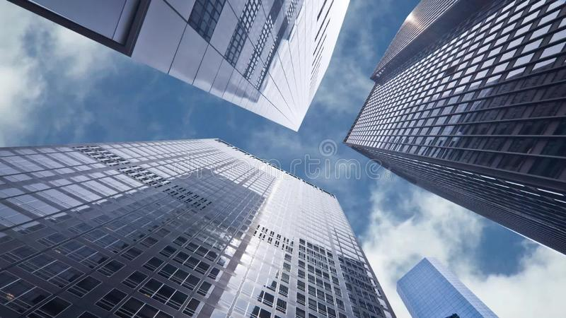 Seamless loop - Looking up at business buildings in downtown New York USA, video HD. Seamless loop - Looking up at business buildings in downtown New York, USA stock video footage
